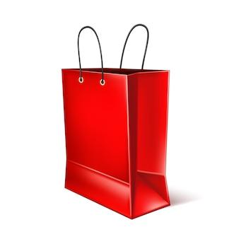 벡터 현실적인 빨간 쇼핑백 프리미엄 벡터