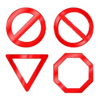 Вектор реалистичные красные предупреждающие знаки запрет дорожного движения и запрещенный знак набор