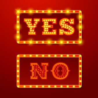 Vector realistic set of glowing yes and no signs with lamps on red background.
