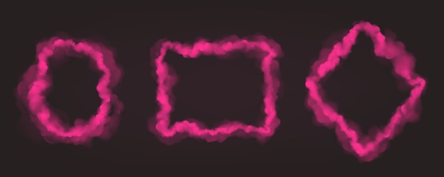 Vector realistic set of pink smoke frames
