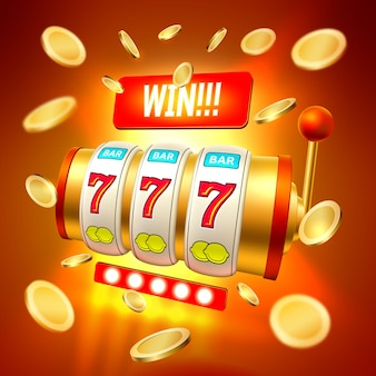 Vector realistic slot machine casino jackpot