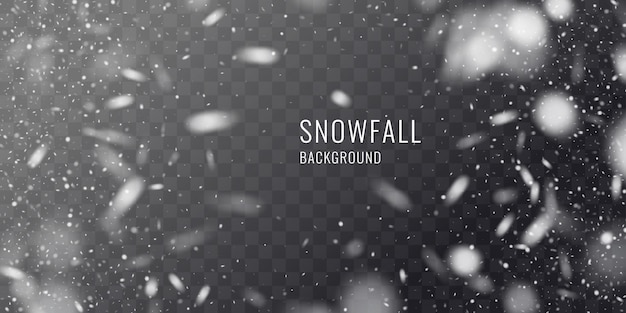 Vector realistic snowfall against a dark background. transparent elements for winter cards and poster.
