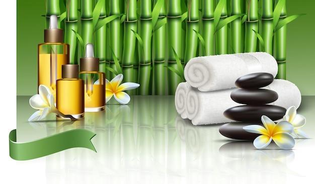 Вектор реалистичный спа-велнес с маслами и предметами первой необходимости, массажными камнями и полевыми цветами, полотенцами и бамбуковыми растениями.