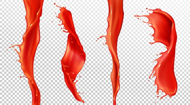 Vector realistic splash and stream of tomato juice