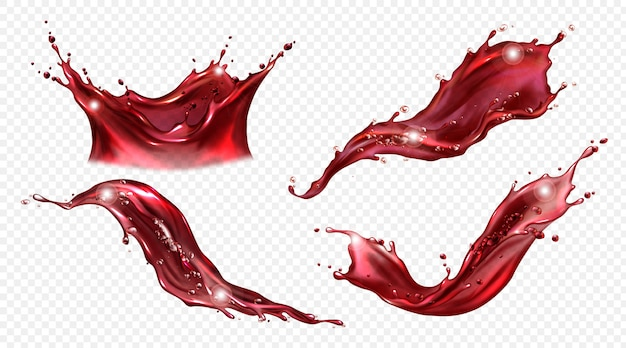 Vector realistic splash of wine or red juice