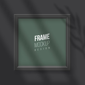 Vector realistic square empty picture frame with window shadow overlay effect