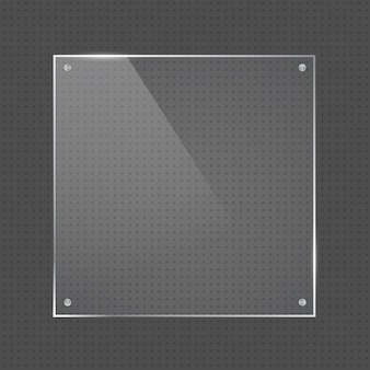 Vector realistic square glossy shape glass frame with small silver nails on transparent background