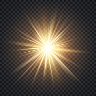 Vector realistic starburst lighting effect, yellow sun with rays and glow on transparent background.