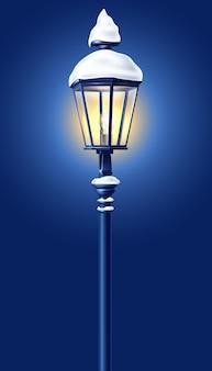 Вектор реалистичный уличный фонарь с снежным новым годом