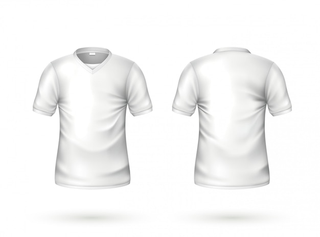 Vector realistic t-shirt white blank mockup
