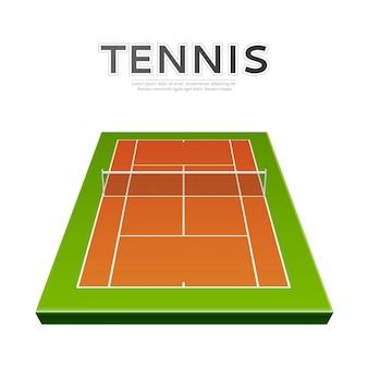 Вектор реалистичная теннисная площадка