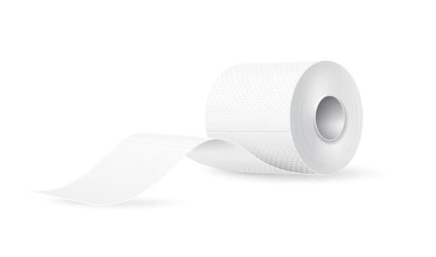 Вектор реалистичные рулон туалетной бумаги. бланк-макет продукта гигиены. туалетная бумага soft touch для туалета.