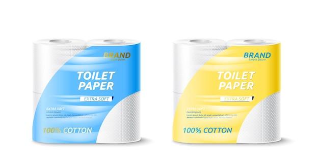 Вектор реалистичный макет пакета рулона туалетной бумаги