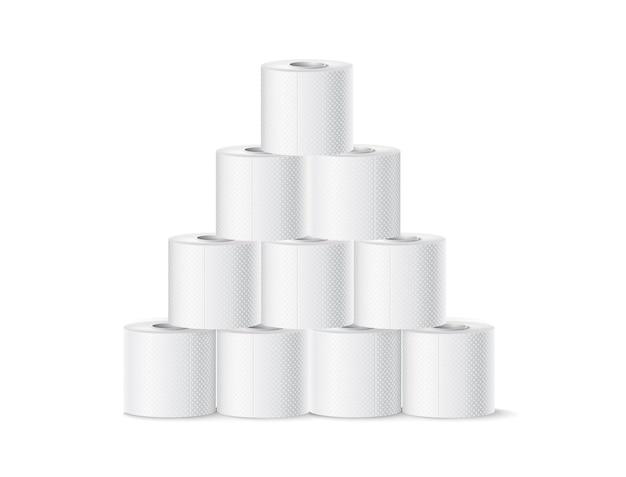 Вектор реалистичные пирамида рулона туалетной бумаги. бланк-макет продукта гигиены. туалетная бумага soft touch для туалета.
