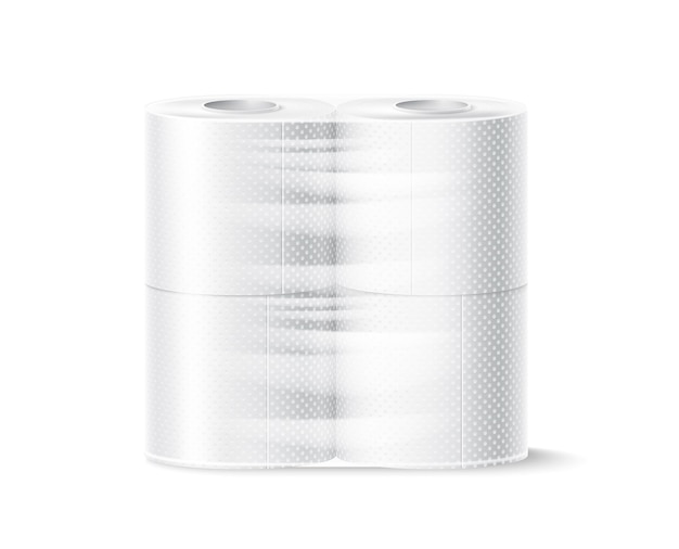 Вектор реалистичные рулон туалетной бумаги белый пустой