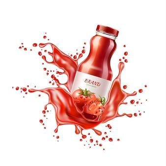 육즙 스플래시 폭발 신선한 건강 음료와 유리 병에 벡터 현실적인 토마토 주스