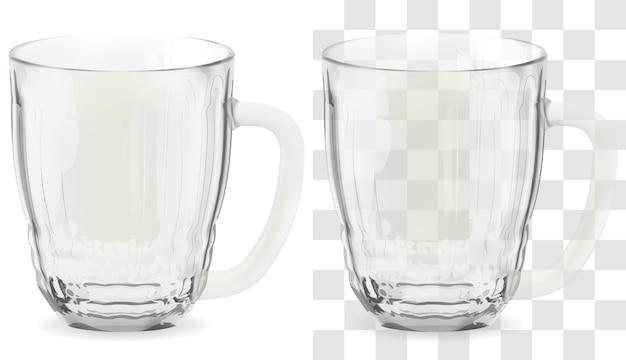 ベクトルの現実的な透明なビアグラス。アルコール飲料ガラスアイコンイラスト