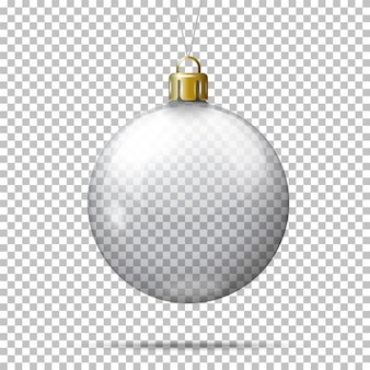 Vector realistic transparent christmas ball, on plaid background.
