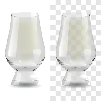 Vector realistic transparent and isolated whiskey glencairn glass. alcohol drink glass icon illustration