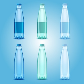 Vector realistic transparent plastic bottles with mineral water templates
