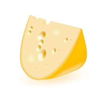 Vector realistic triangular piece of cheese.