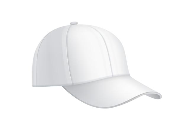 Vista laterale del berretto da baseball bianco realistico di vettore isolato su priorità bassa
