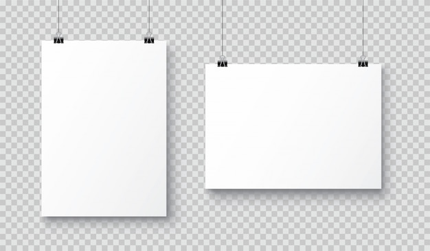 Vector realistic white blank a4 paper poster hanging on a rope with clip