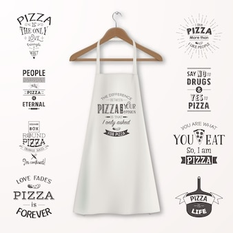 Vector realistic white cotton kitchen apron with clothes wooden hanger and quotes about pizza set closeup isolated on white. design template, mock up for branding, graphics, advertising, printing.