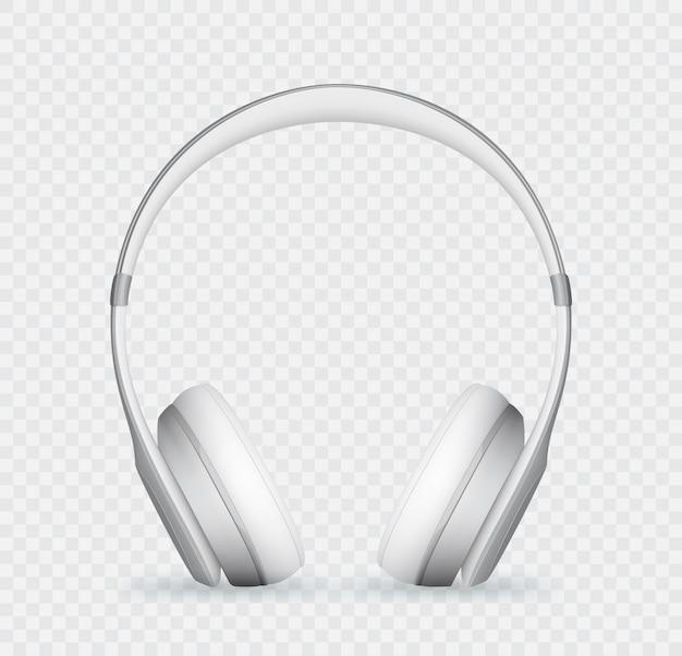Vector realistic white headphone.
