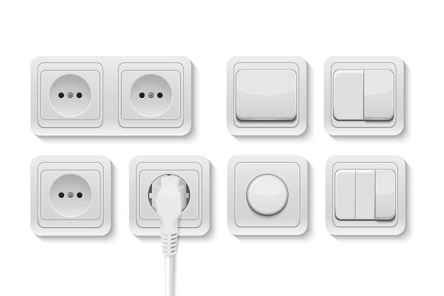 Вектор реалистичные белые переключатели и набор розеток, изолированные на белом фоне. шаблон дизайна, иллюстрация eps10.