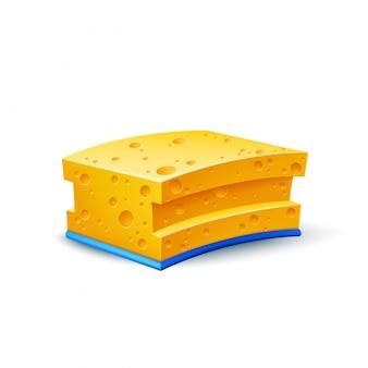 食器洗いのベクトル現実的な黄色いスポンジ