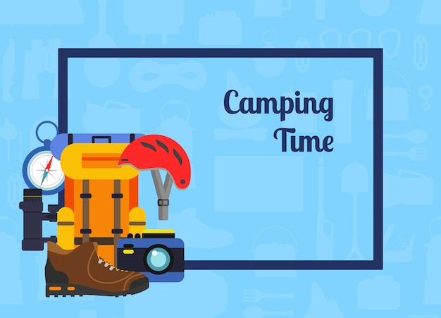 Vector rectangle frame with pile of flat style camping elements in the corner with place for text background illustration