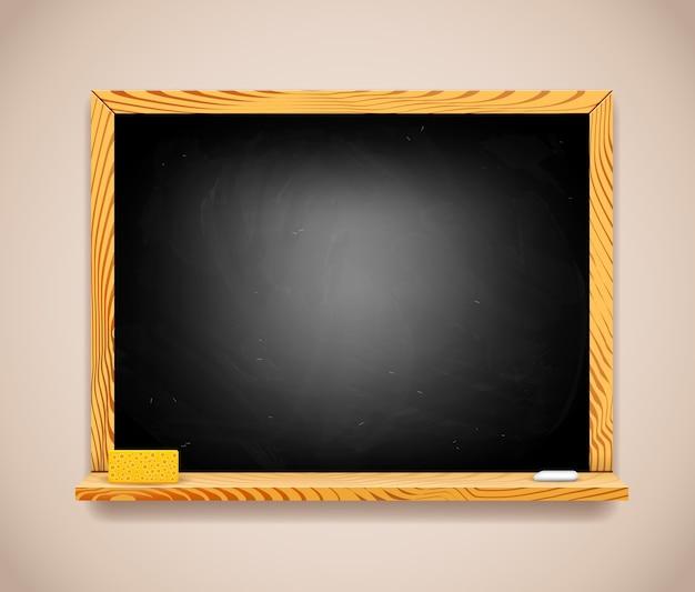 Vector rectangular black chalkboard on light brown wall.