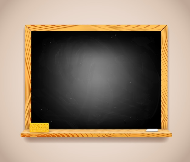 밝은 갈색 벽에 벡터 직사각형 검은 칠판.