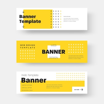 Вектор прямоугольный горизонтальный веб-баннер с желтым и белым абстрактным узором, квадратами и стрелами. дизайн макета для рекламы. шаблон с черным текстом.