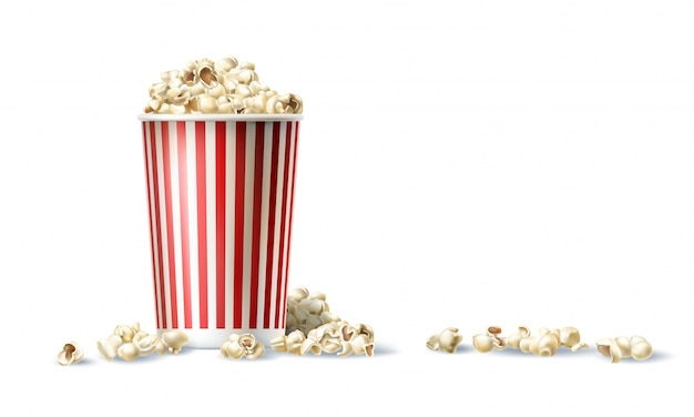 Векторные красное и белое картонное ведро с попкорном в реалистичном стиле