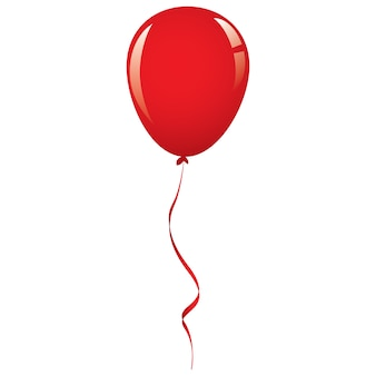 Vector red balloon ribbon