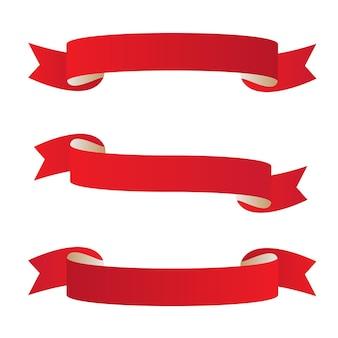 ベクトル赤いバナーセット