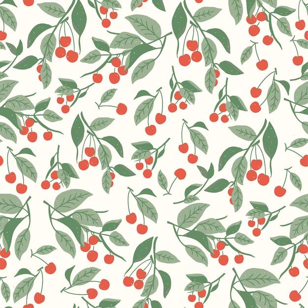 벡터 레드 베리 체리 과일과 잎 그림 모티브 원활한 반복 패턴 섬유 직물