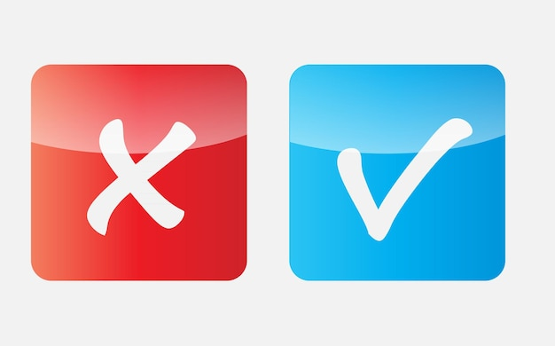 Vector red and blue check mark icons