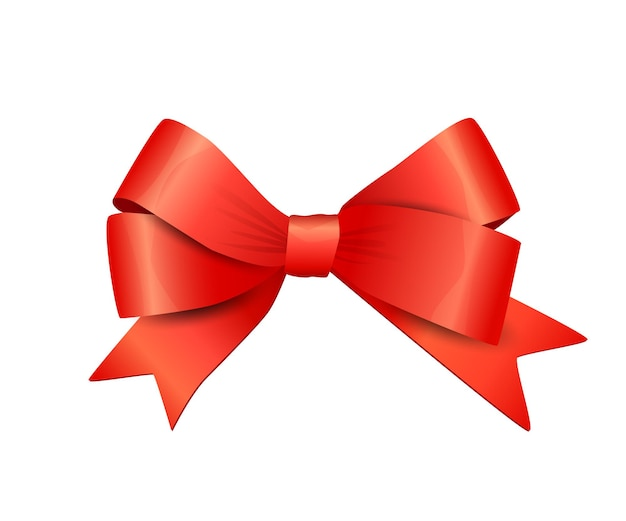 Vector red bow isolated on white background decorative design element