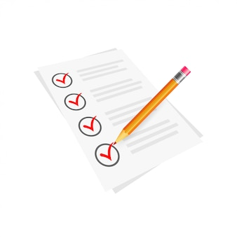 Vector red check mark symbol and icon on checklist with pencil for approved design