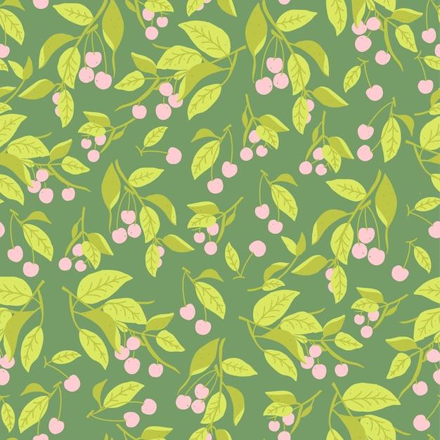 Векторная иллюстрация листьев красного вишневого дерева бесшовные модели повторения домашнего декора печати модной ткани