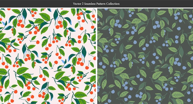 Векторная иллюстрация листьев красного вишневого дерева бесшовные модели повторения домашнего декора печати