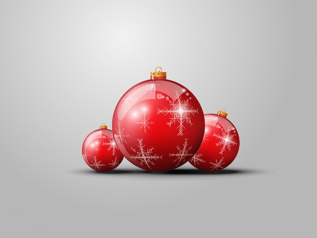 Vector red christmas balls on gray background