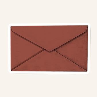 Вектор красный конверт мультяшный стикер
