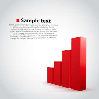 Vector red graph chart on white background.