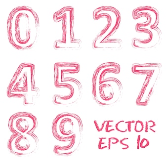 Vector red handwritten numbers.