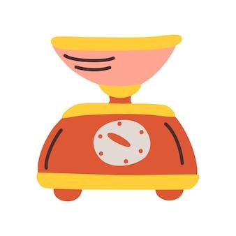 그릇이 있는 벡터 빨간색 주방 규모입니다. 푸드 프로세서, 주방 가제트. 웹 디자인을 위한 국내 무게 저울 벡터 아이콘의 만화 그림. 흰색 배경에 고립.