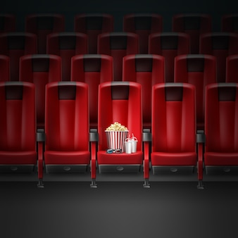 Vector red modern comfortable seats in cinema movie theater with pocorn, 3d glasses and two beverages